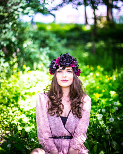 fairy forest fashion photo shoot with flower headband