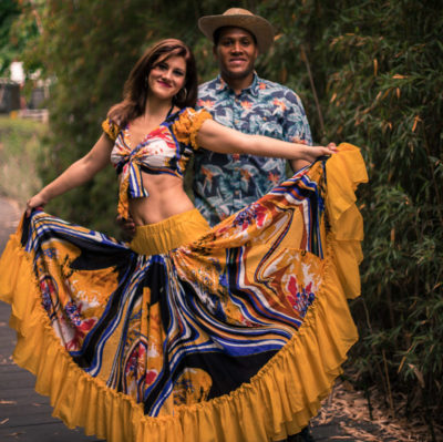 Caribbean dance couple on a tropical photo shoot