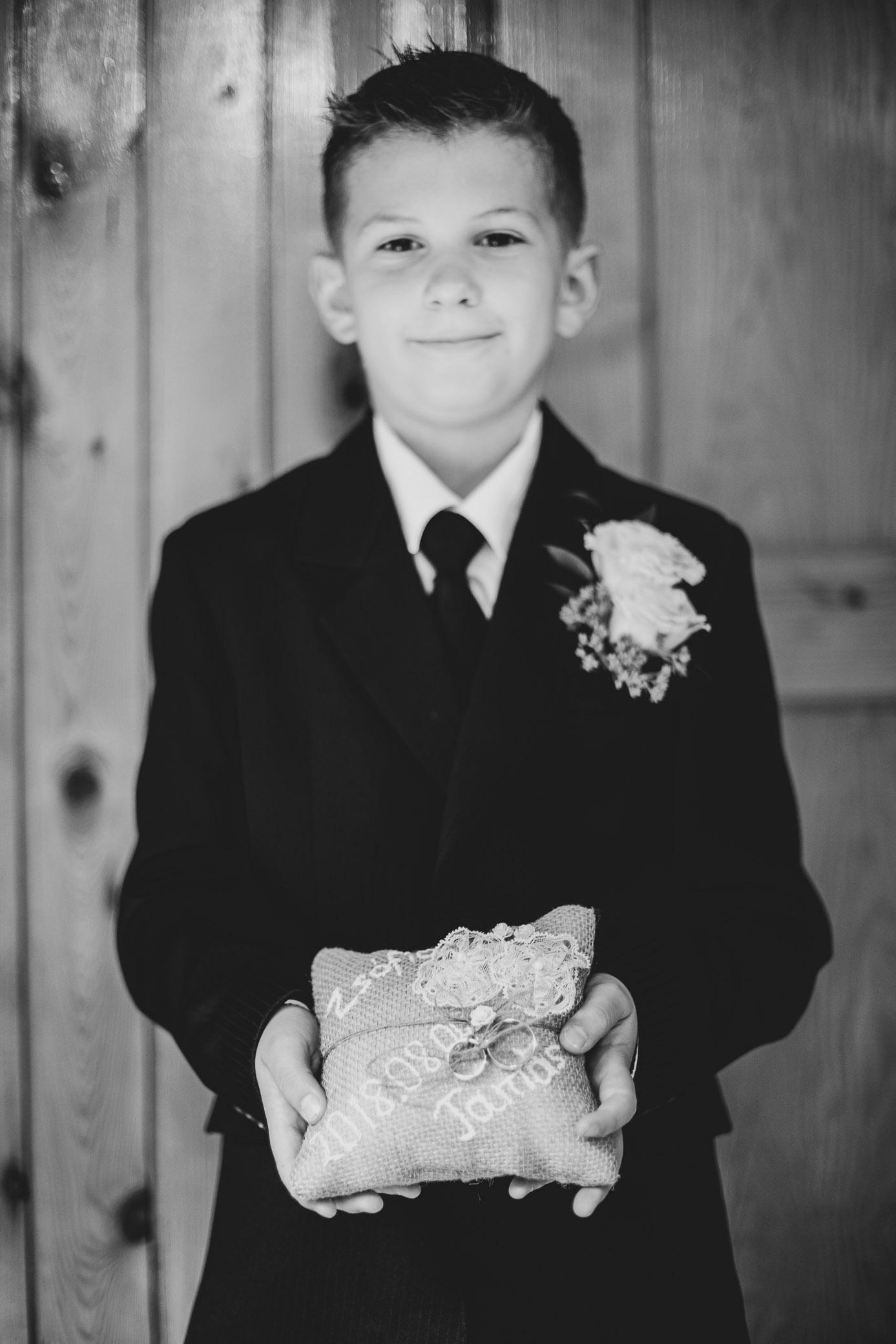ring holder portrait of boy