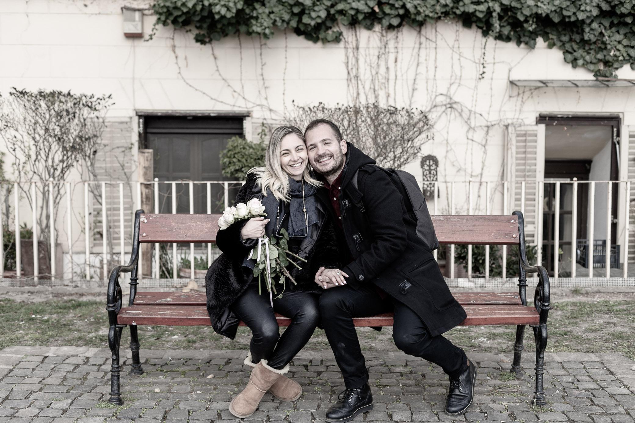 nostalgic bench budapest couple photo