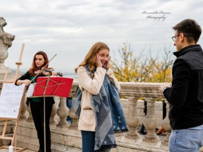 Surprise engagement Buda Castle violinist